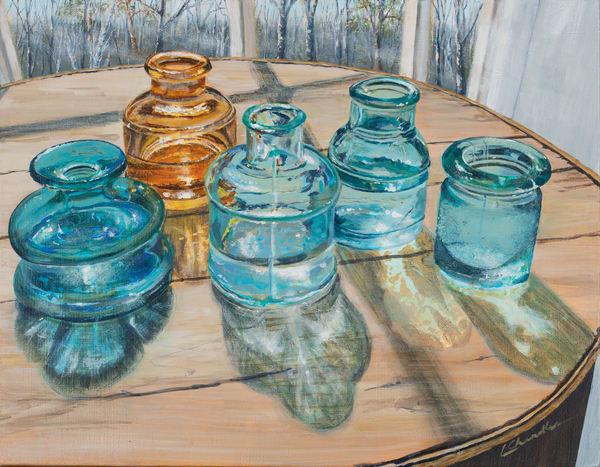 Glass, ink wells, vintage, light