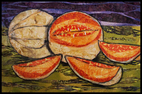 Cantaloupes is a classic still life by Sharon Tesser created as a textile mosaic.