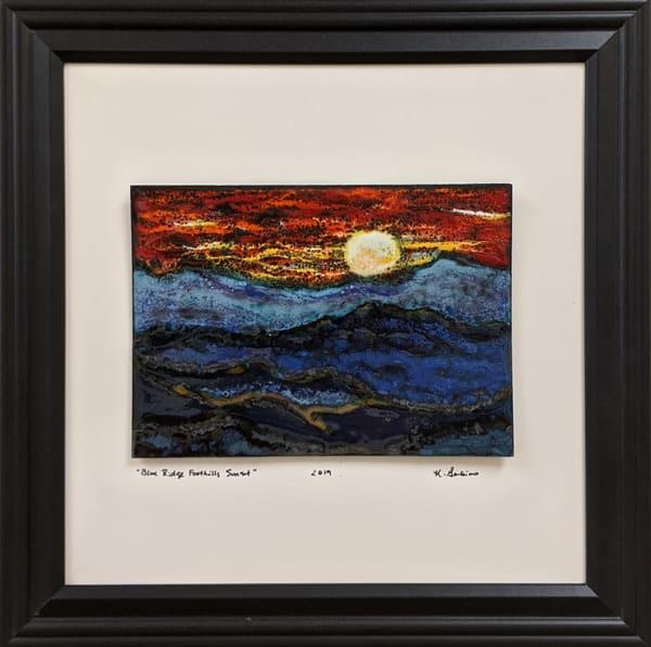 Kellie Gambino - original artwork - enameling - nature - mountains - Blue Ridge Foothills Sunset