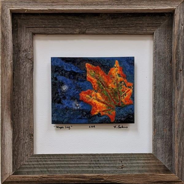 Kellie Gambino - original artwork - enameling - nature - fall - Maple Leaf