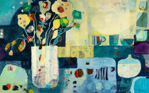 abstract flowers and blue green pots