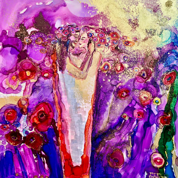 """Garden of the King 5""  by Monique Sarkessian prophetic art alcohol ink painting of Jesus as the Beloved King in His garden, as personified in Song of Solomon."