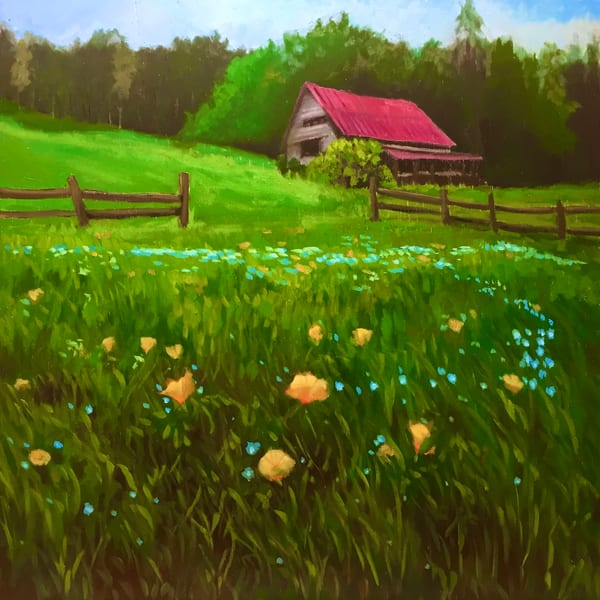 Pink roof and wildflowers fine art print by Hilary J England
