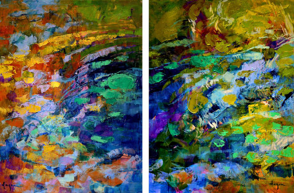 Colorful Abstract Water Painting, Original Oil by Dorothy Fagan