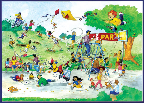 Day In The Park by Greg Smith is a cartoon mixed media painting of children and families having fun