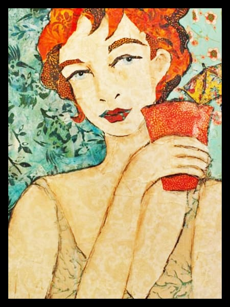 A Girl With A Glass is a fun and sultry textile mosaic by Sharon Tesser