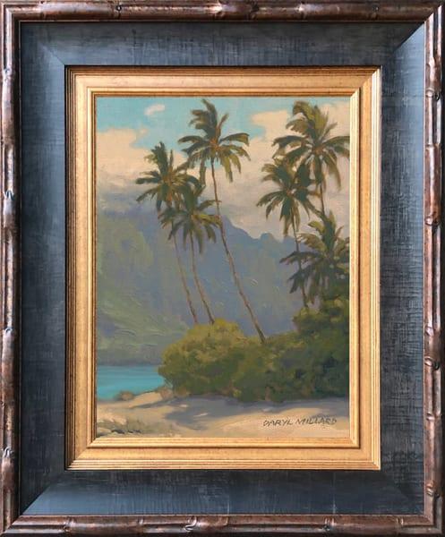 Motu Palms In Stock Dark Olive Wood Frame