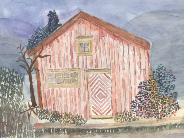 Norway Shed Watercolor