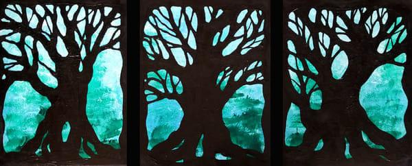Trees In Blue Original Art Art | Lynne Medsker Art & Photography, LLC