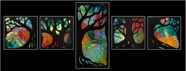 Petite Trees, Set Of Five Original Art Art | Lynne Medsker Art & Photography, LLC