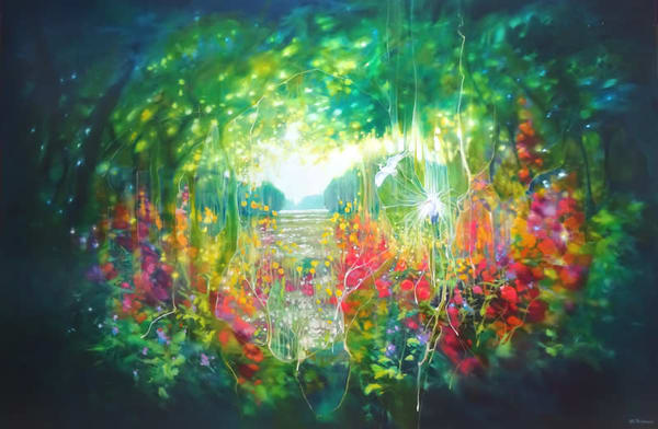 very large oil painting of a magical summer landscape with birds and flowers by a lake