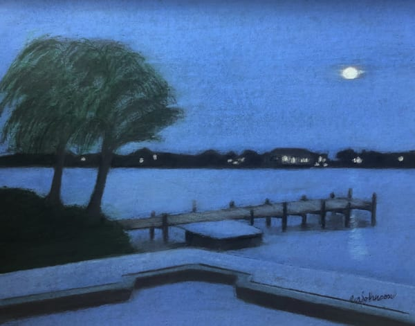 Moonlight On the Lagoon, An Original Colored Pencil Painting