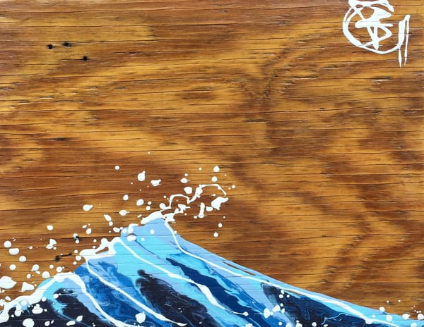 Natural Wave On Reclaimed Wood Art | buchanart