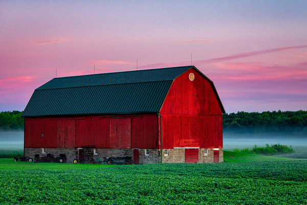 Fog on the farm - Michigan barns fine-art photography prints