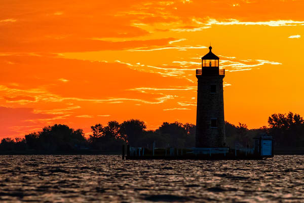 Lake St. Clair River Lighthouse Pastel Sunrise - Michigan fine-art photography prints