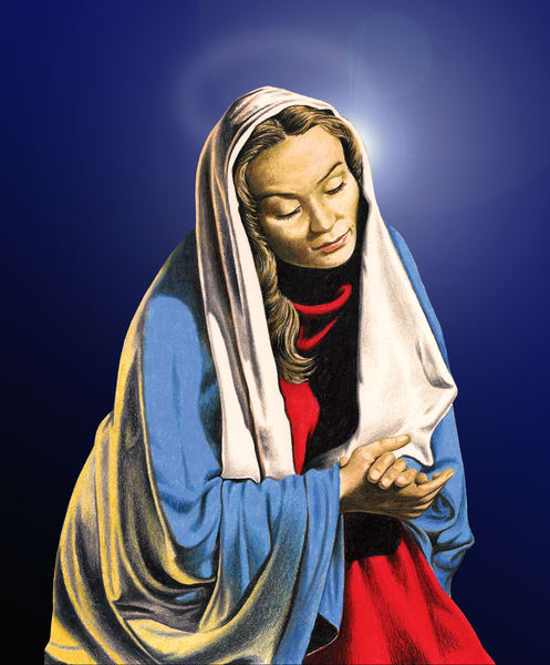 Mary, by Greg V Smith, is a religious mixed media painting in color pencil and digital