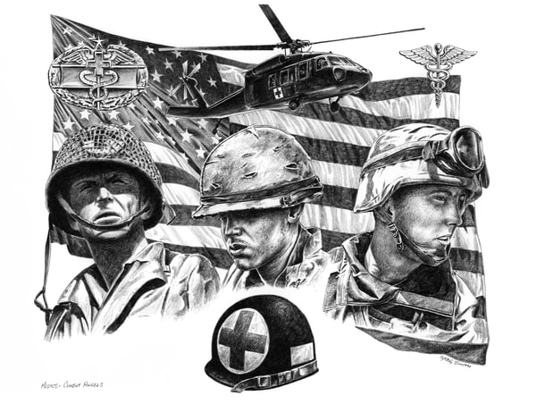 MEDICS - Combat Angels, a military illustration in graphite by Greg V Smith