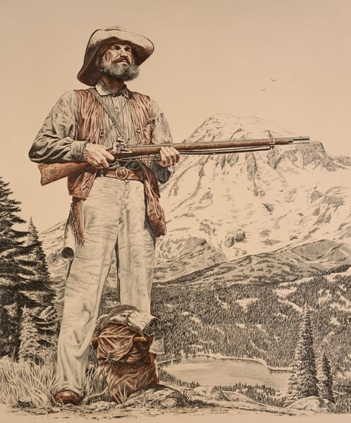 Mountain Man - a color pencil painting of the typical American pioneer by Greg V Smith