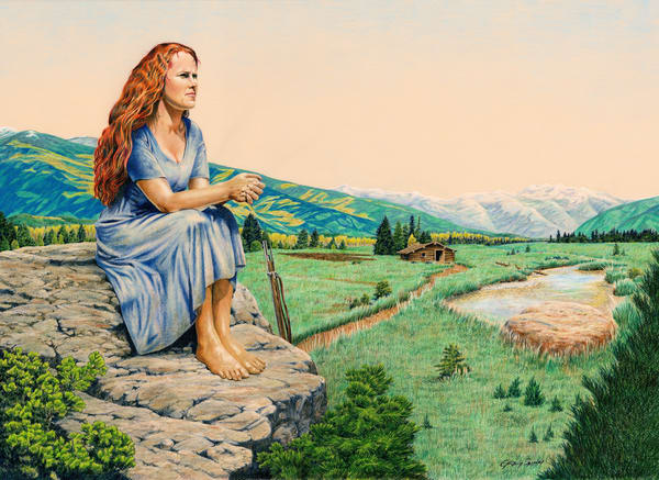 The Waiting, color pencil painting of pioneer woman by Greg V Smith