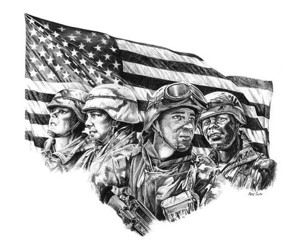 These Colors Don't Run, a patriotic graphite illustration by Greg V Smith