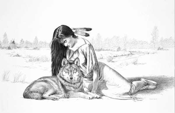 Winter Friendship, graphite painting of a Native American woman and wolf by Greg V Smith
