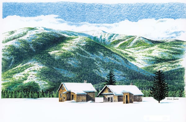 Under Schweitzer, color pencil painting of cabins in snow by Greg V Smith