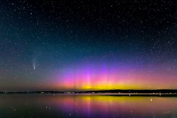 Aurora And Comet Neowise Over Crystal Lake Photography Art | Drew Smith Photography, LLC