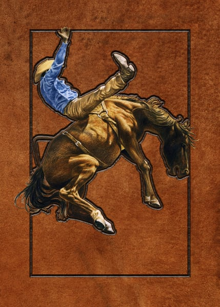 Wild Bronco, mixed media painting of cowboy at rodeo by Greg V Smith
