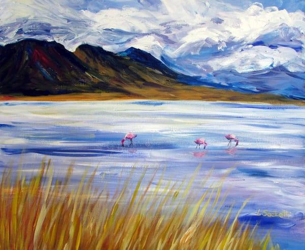 Flamingos Having Lunch, Bolivia Art | Linda Sacketti