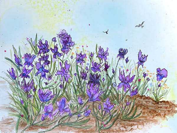 Purple Irises by Josie Tullo Alcohol Ink painting on Yupo paper