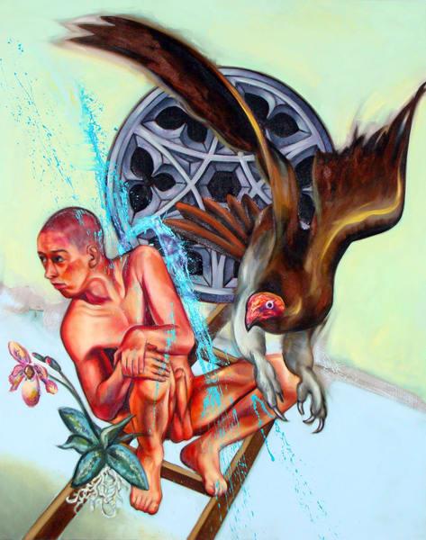 Self Portrait With Vulture Art | Mathieu Laca