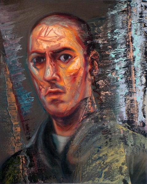 Orange Self Portrait Art   Mathieu Laca