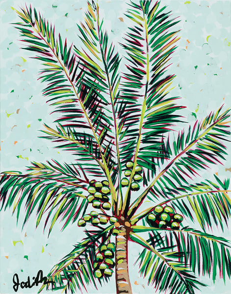 Palms I is an original acrylic painting of a palm tree and it's coconuts.