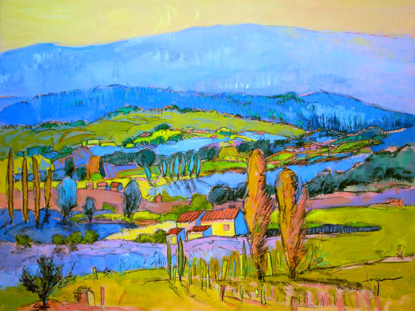 Blue Green Oversize Landscape Canvas Print by Dorothy Fagan