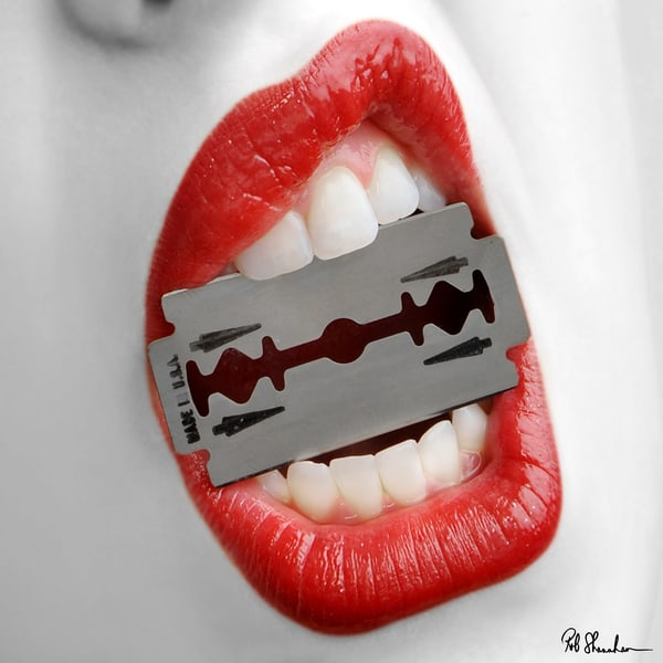 Lips with razor art gallery photo prints by Rob Shanahan