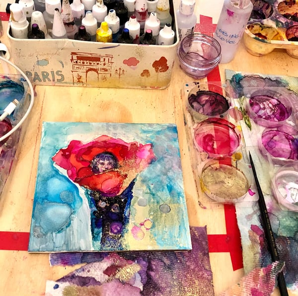8 Painting Classes - Encaustic Wax Painting,  alcohol ink classes, Oil painting, Cold Wax or Plein Air Workshops WORKSHOPS and CLASSES in Wayne with Monique Sarkessian.
