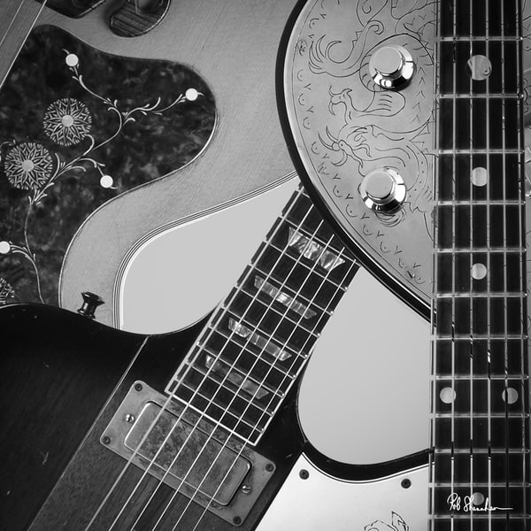 Guitar collage art gallery photo prints by Rob Shanahan