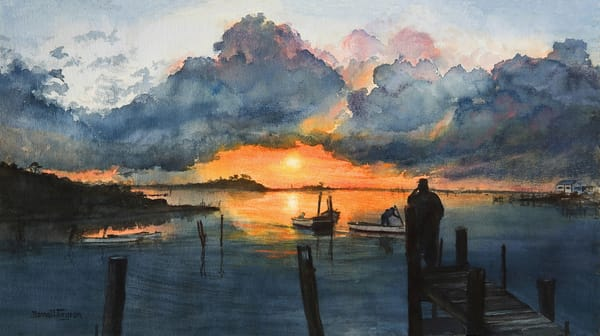 Dramatic Sunset Parting Storm Clouds over the Bay, Watercolor painting by Donna Turgeon, Fine Art Prints