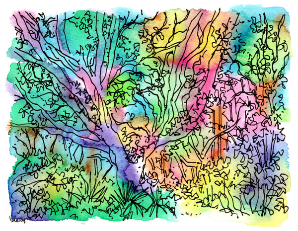 sand live oaks (big leaning oak), big talbot island (a1a), florida:  fine art prints in cheerful watercolor available for purchase online
