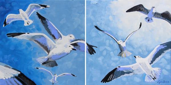 Gull Frenzy Diptych Art | Shed Art