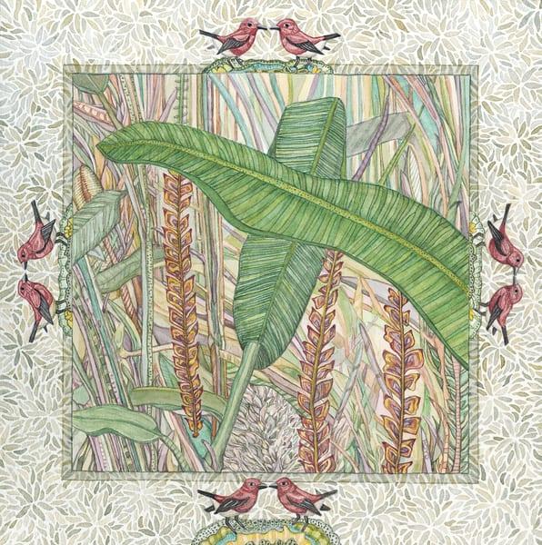 "Fine art reproduction of ""Apapane,"" an original painting by Judy Boyd Watercolors."