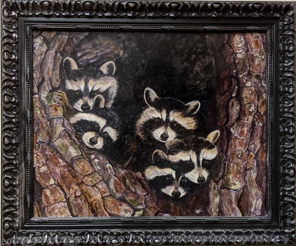 Berry Smith - original artwork - animals - racoons - watercolor - Baby Coons and Hollow Tree