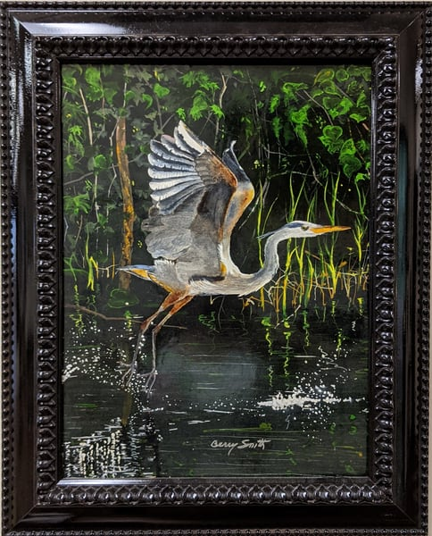 Berry Smith - original artwork - animals - birds - blue heron - watercolor - Splash