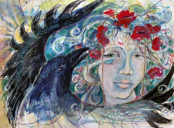 Raven and Poppy Spirit Animal Art Print - Self Love