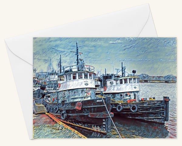 Twin Tugs Blank 5x7 Card