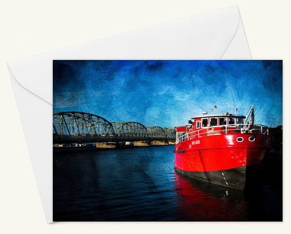Fred A Busse Fire Boat Blank 5x7 Card