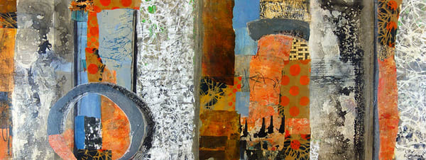 View the large painting /collage by Shirley Williams titled 'Circling Back'