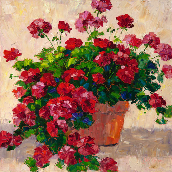Theres Just Something About Red Geraniums In A Terra Cotta Pot Art | Linda Star Landon Fine Art