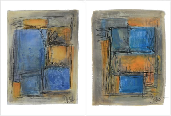 Blue Panes I & II (Diptych) - Original Abstract Painting | Cynthia Coldren Fine Art