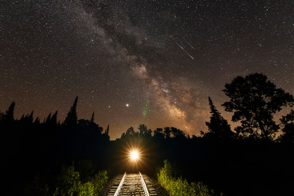 Milky Way Train 3 Shooting Stars Photography Art | Kurt Gardner Photogarphy